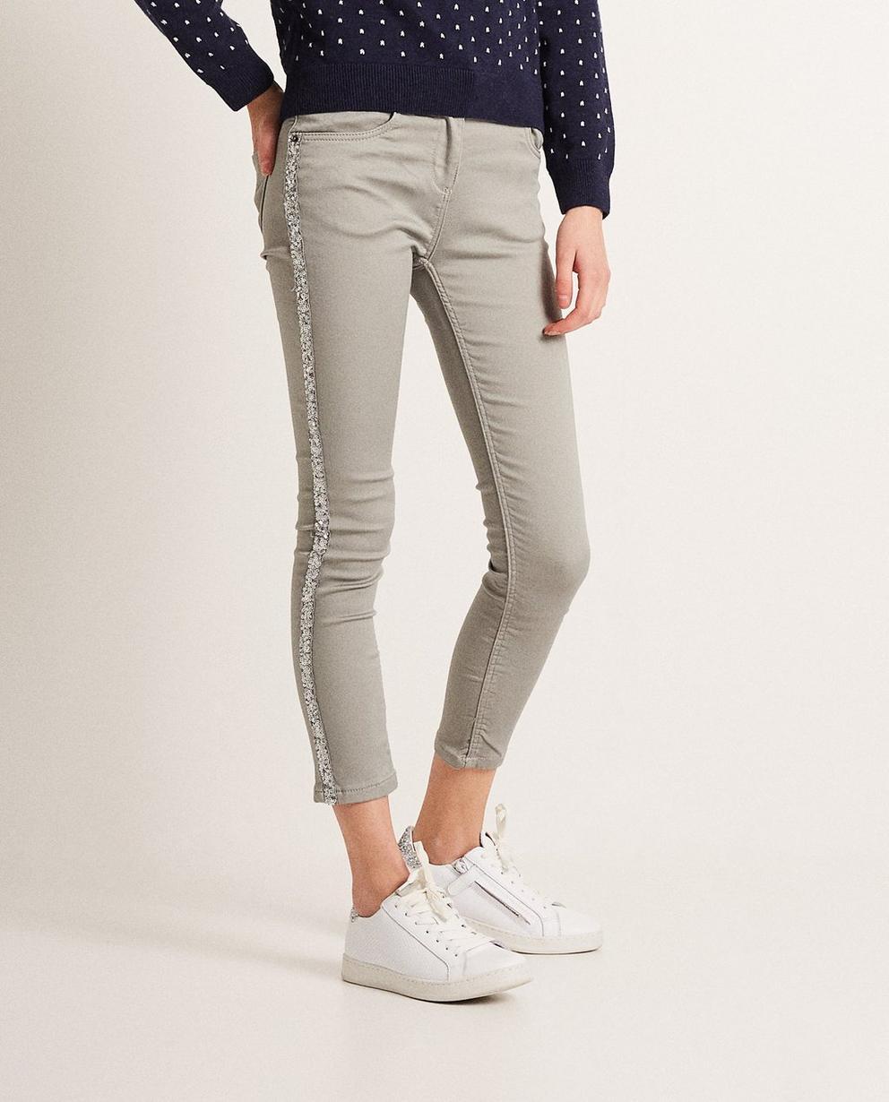 Jeans - Braun - Jeans met paillettenstrook